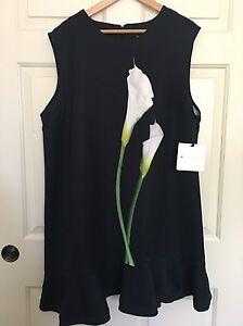 d5236027ca Victoria Beckham Women Plus Black Calla Lily Satin Ruffle Hem Dress ...