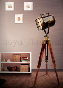 Antique vintage looks wooden tripod spotlight floor lamp nautical image is loading antique vintage looks wooden tripod spotlight floor lamp mozeypictures Images