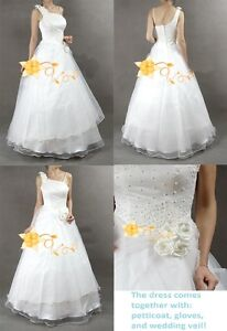 One-Shoulder-White-Rose-Wedding-Dress-Bridal-Gown-New-Size-XS
