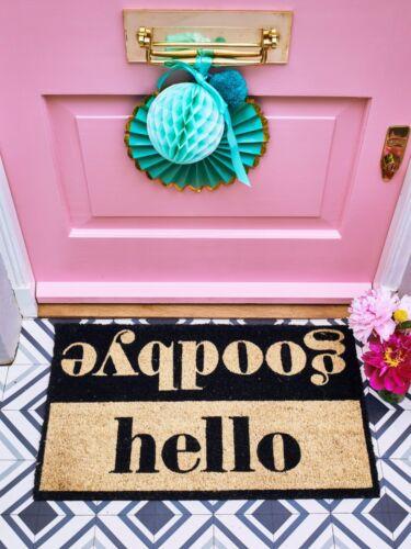 Hello Goodbye Black Door Mat Modern Word Letters Natural Coir Bombay Duck
