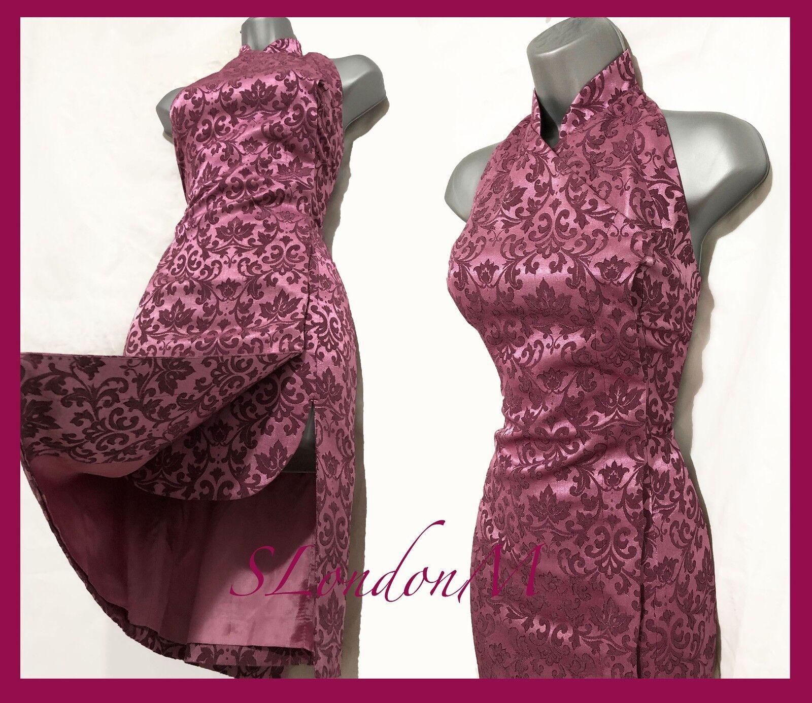 KAREN MILLEN UK 12 Vintage lila Jacquard Halterneck Oriental Style Midi Dress