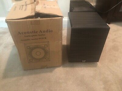 Black New Acoustic Audio PSW-8 300 Watt 8-Inch Down Firing Powered Subwoofer