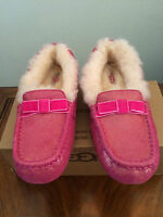 Sz 5 Girls Kids Ugg Youth Annmarie Fur Lined Slippers 1003086k Fus Pink Glitter