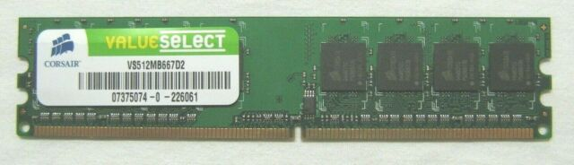 RAM 512Mb 240 Broches VS512MB667D2 DDR2, 667MHz, PC2-5300,CL5,non-Ecc,1.8V