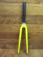 """RARE VINTAGE ABICI FULL CARBON 700C 1 1/8"""" X 7 3/4"""" THREADLESS ROAD FORK -YELLOW"""