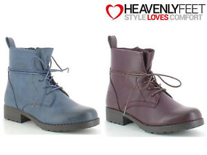 Ladies-Ankle-Lace-Up-Boots-Fashion-Wam-Winter-Comfy-Heavenly-Feet-039-Strut2-039