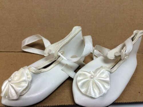 Doll shoes for large doll vintage style white with ribbon one pair