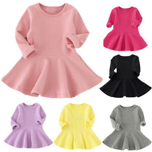 121ac0f39f Kids Toddler Baby Girl Dress Cotton Long Sleeve Princess Casual ...