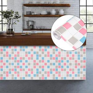 Home Cal Waterproof Self-Adhesive Paper Wallpaper,Red&Blue Mosaics, 1.48 x16.4ft