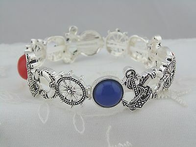 Fashion Jewelry Stretch Bracelet Nautical Wheel Anchor Red Blue Silver NEW