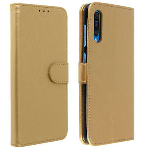 Flip-wallet-case-magnetic-cover-with-stand-for-Samsung-Galaxy-A50-Gold
