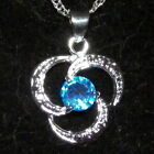 New 925 Sterling Silver Aquamarine Crystal Spiral Pendant Charm with Free Chain