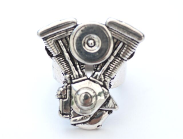 Biker/Outlaw ring.  Unique V shape engine ring.  Silver plated sizes 7-14