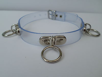 """clear pvc fetish bondage slave collar with 3 o rings  15-18"""" neck 20mm wide"""
