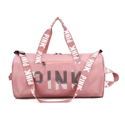 Pink Gym Duffle Bag Waterproof Large Sequins  Bags Travel Duffel Bags with Shoes