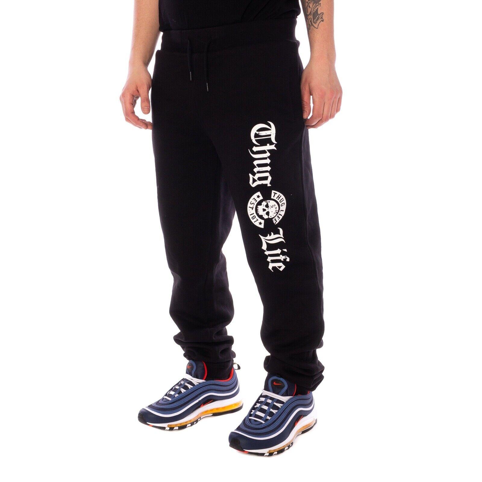 Thug Life Old English Pantaloni Pantaloni Sport Nero 15764