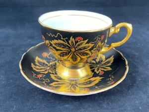 Amazing-Vintage-Tuscan-England-Matt-Black-and-Gold-Leaf-Footed-Cup-Saucer-C9796