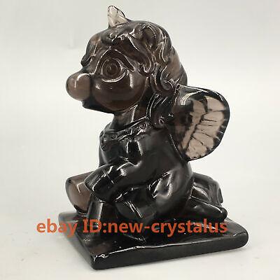 "2.3/"" Natural Ice obsidian Quartz unicorn Crystal Carved Skull Healing 1pc"