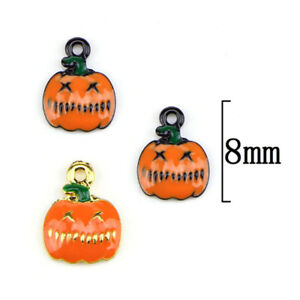 10pcs Halloween Pumpkin Beads Enamel Charms Pendant Diy Jewelry Findings Home & Garden