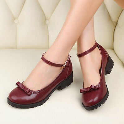 Lolita Womens Ankle Strap Retro Vintage Pumps College Court Bowknot Shoes UK 8.5