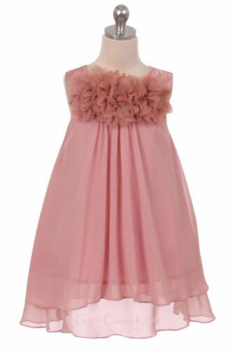 New Flower Girls Fuchsia Hot Pink Chiffon Dress Pageant Wedding Easter Party
