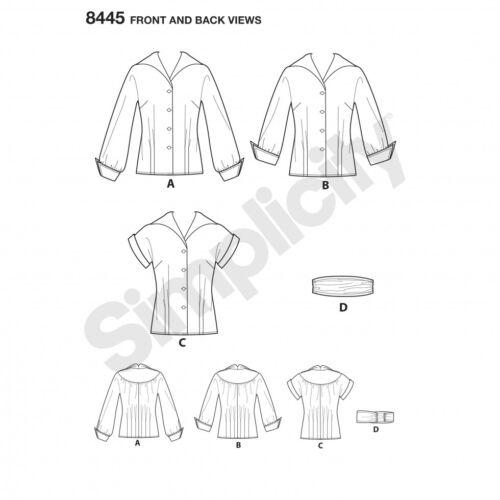 Simplicity Ladies Sewing Pattern 8445 1950s Vintage Style Blouses /& Cumme...