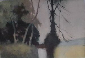 View-in-Wales-TREES-NEAR-A-POOL-WILLIAM-EYRE-Watercolour-Original-Art-Work