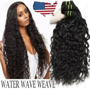 Water-Wave-Indian-Virgin-3Bundles-300G-Human-Hair-Extensions-Weave-Weft-Thick-US