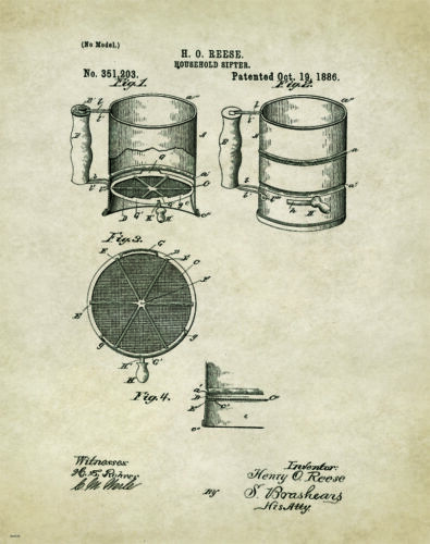 Kitchen Bakery Patent Patent Poster Art Print Pie Cake Pans Chef Supplies PAT170