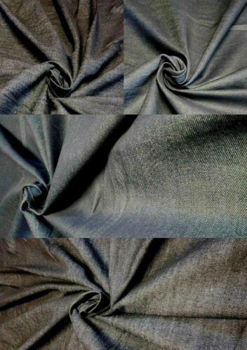 PLAIN BLACK BLUE COTTON DENIM FABRIC MATERIAL UPHOLSTERY CLOTHING TABLE CLOTHS