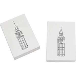 2 x 45mm 'Big Ben Clock Tower' Erasers - Rubbers (ER00010672) ByDdipuM-09122014-578218282