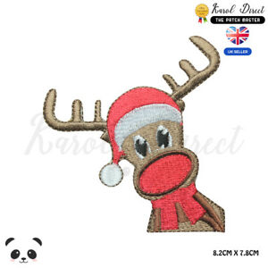 Reindeer-Christmas-Xmas-Embroidered-Iron-On-Sew-On-Patch-Badge-For-Clothes-etc