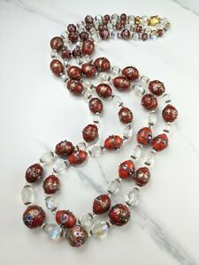 Red Venetian Wedding Cake Lampwork and Aurora Borealis Crystal Glass Necklace