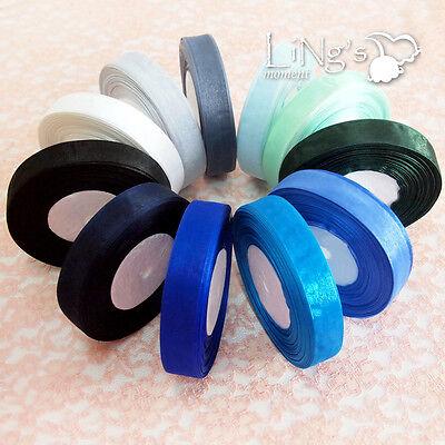 Organza Blue Series Sheer Ribbon Wedding Party Shower Favor Gift Craft Decor