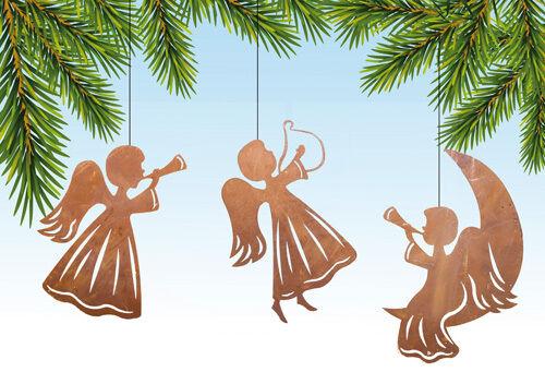 Edelrost Engel Trompete Fensterbild Aufhänger Weihnachten Advent Dekoration