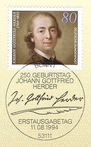Rfa 1994: Johann Gottfried Herder Nº 1747 Avec Bonner Ersttags Cachet Spécial! 1 A!-stempel! 1a!fr-fr Afficher Le Titre D'origine