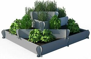 Palram KIMY Outdoor Square Garden Bed Planter: 4-Piece Gray Raised Terrace Plant