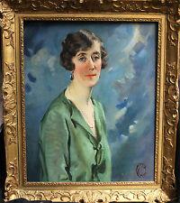 ART DECO BRITISH OIL PAINTING PORTRAIT LADY IN GREEN ROARING TWENTIES WOMAN