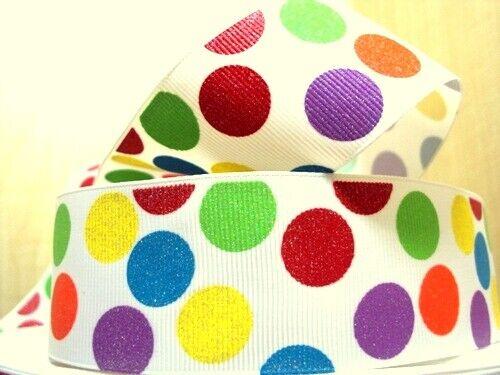 1.5 INCH 38mm GROSGRAIN RIBBON Hair Bow Supplies Wholesale Rainbow Glitter Dots