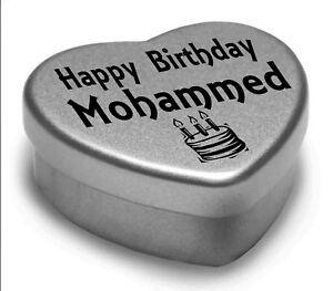 Happy Birthday Mohammed Mini Heart Tin Gift Present For Mohammed