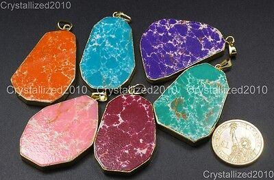 Sea Sediment Jasper Gemstone Sliced Reiki Healing Pendant Necklaces Beads Gold