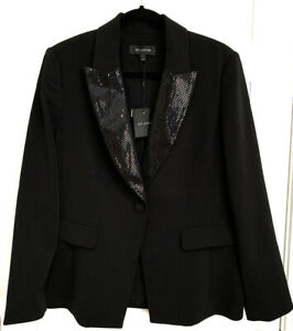 1-695-St-John-Women-039-s-Jacket-Size-14-Black-Sequin-Lapel-Tuxedo-Blazer-Coat