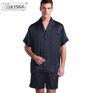 Classic Short Silk Pajamas Set for Men 22 Momme 100% Mulberry Silk ... 6f436aaca