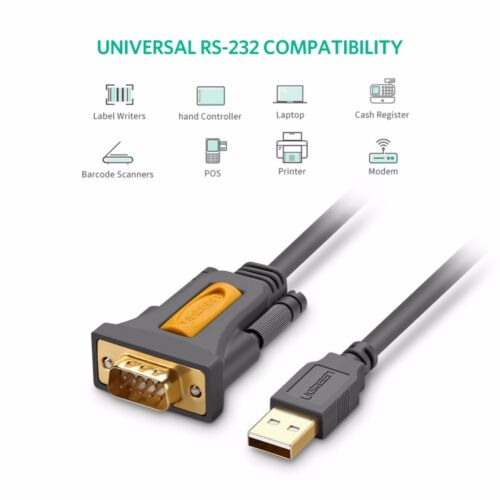 Ugreen USB 2.0 to RS232 DB9 Serial Cable Male A Converter Adapter PL2303 for Mac