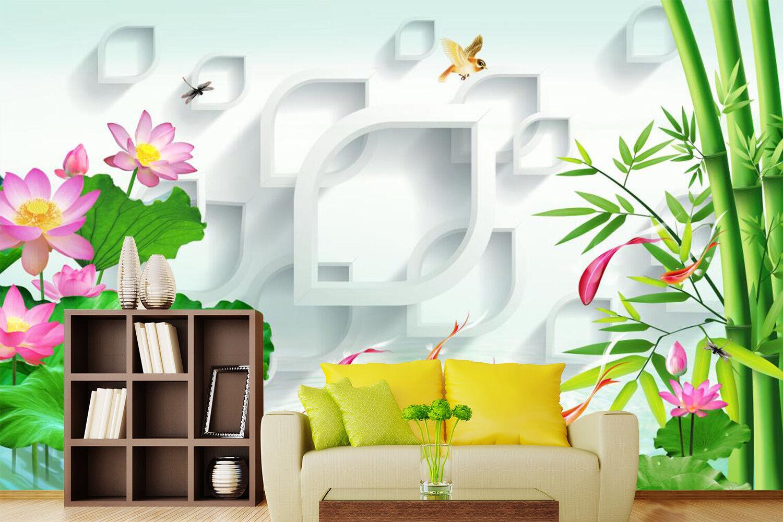 3D Bambus Lotus Natürlich 8098 Tapete Wandgemälde Tapeten Bild Familie DE Kyra