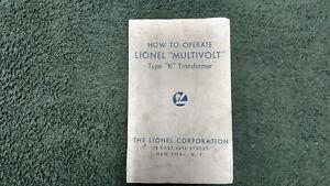 LIONEL TYPE J TRANSFORMER INSTRUCTIONS PHOTOCOPY