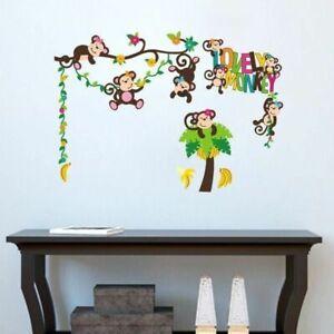 Lovely-Monkey-Wandsticker-Wandtattoo-Affe-Aufkleber-Wandaufkleber-Kinder