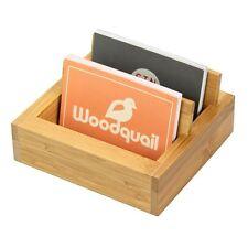 Titular de la tarjeta de negocios de bambú 2 compartimentos, Soporte de Teléfono Móvil
