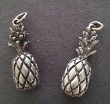 2 - Pineapple Charms Earrings Zipper Pull - Silver - Fruit - NEW