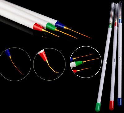 3pcs Nail Art Design DIY Acrylic Draw Painting Striping UV Gel Pen Brush Set GRA